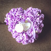 Wholesale Sweetheart Many Colors Customed Fashion Ring pillows Wedding supplies Bridal Accessories d Floral Applique Cute Flower Pillows WWL