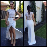 apple blouse - Trendy Two Pieces Prom Dresses Lace Blouse Sexy vestidos de festa High Slit Evening Party Dresses Sleeveless Formal Gown New Design