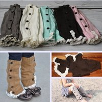 Wholesale 8 colors KID GIRLS Crochet Button Down Boot Cuffs lace Button Braid Knit Leg Warmers Boot Socks Knee High Socks Frozen A pair