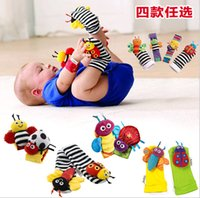 13-24 Months bee wristbands - Lamaze rattle baby toys Wristband Socks Lamaze Garden Bug Wrist Rattle Foot Socks Bee Plush toy toddler Infant toys with bell ringing Free