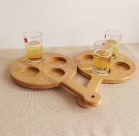 Wholesale Tree shaped Bamboo Beer Flight Holes BeerTasting Serving Paddle Beer Cup Tray Beer Holder Bar Wares