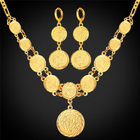 arab necklace - 18K Real Gold Plated Coin Necklace Earrings Set For Women Fashion Jewelry Muslim Islamic Arab Ancient Jewelry Vintage NE882