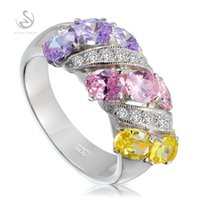 best new punk - Brand New sterling silver jewelry Best Sellers S GYO sz Charm Purple Yellow Pink CZ Cubic Zirconia Punk rings