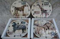 animal alarm clocks - Home decoration products trade wood planks vintage wall clock antique clock clock forest animals