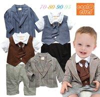 Cheap baby romper set Best gentleman boy suit