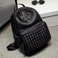 Wholesale Top Quality Korean PVC Leather Backpack Women Sprots Backpack Bags Travel Punk Rivets Backpacks