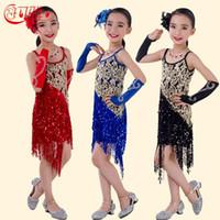 latin dress - New Arrival High Quality Children Latin Dance Dress for Kids Performance Wear Latin Sequin Tassel Fringed Dance Costume Girls Skirts