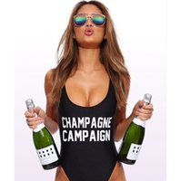 Wholesale European fashion sexy women s black white color letter print CHAMPAGNE spoof bodycon one piece swimwear jumpsuit swimsuit