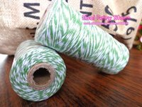 Wholesale Cotton Green Twine - Wholesale! Double Colored 8ply Light Green + White Colorful COTTON TWINE,BAKER'S Twine ,Fabric string -Free shipping 5spool lot