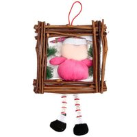 beard boards - Wooden Frame Hanging Santa Claus Doll Merry Christmas White Beard Ornaments Paper Board Decorations Gift Enclosed Red String