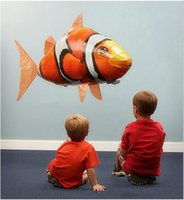 achat en gros de fish toy-Air Swimmers Turbo Flying Fish Jaune Clownfish Requin bleu Nemo RC vol à distance Balloon Animal Control Toy bébé meilleurs cadeaux