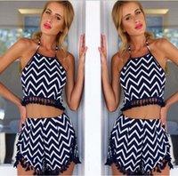 Cheap 2015 Two pieces Summer women dress Wave Pattern Tassel denim jumper women Shorts+ Halter Sling Women Clothing