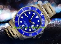 authentic luxury watches - Luxury MAN WATCH Steel AUTHENTIC RARE BLUE CERAMIC BEZEL GOLD WATCH LB MM Wristwatch