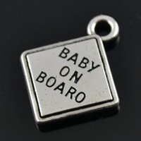 Cheap square letter charm Best baby on board charm