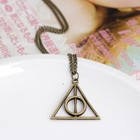 batch trades - 2015 Sale Time limited Pendant Necklaces Unisex Gift Trade Original Harry Potter And The Deathly Hallows Necklace Luna Triangle Mixed Batch
