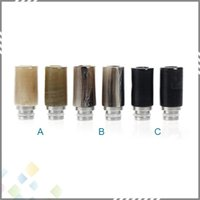 bear horn - Flat Design E cigarette Wide Bore OX Horn Drip Tips with higher quality Stainless steel and Ox horn Material for RDA Atomizer DHL Free