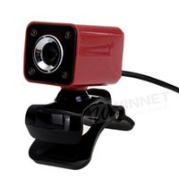 Wholesale USB MP LED HD Webcam Web Cam Camera MIC for Laptop Computer Red