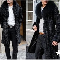 Wholesale Fall Plus Size X Long Big Fox Fur Turn Down Collar Cloth Formal Black Men s Winter Mink Overcoat Thick Warm Faux Fur Coat V553