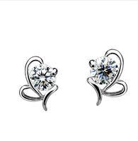 Wholesale S925 Sterling Silver Small Stud Earrings Silver Heart Shaped Butterfly Bow Earrings Upscale Jewelry For Women Hypoallergenic Ear
