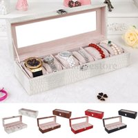Wholesale 6 Slots Leather Watch Box Display Case Organizer Glass Top Jewelry Storage GIFT