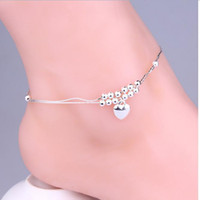 Cheap 925 sterling Silver anklets jewelry for women 2015 New womens double layer silver heart beads ankle bracelets summer beach foot jewelry