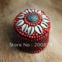 beaded jewelry case - TJB952 Tibetan handmade lovely red beaded decorative box mm round tent jewelry case