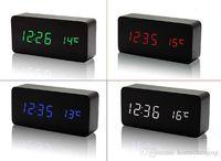 Wholesale HOT wooden LED Alarm Clock despertador Temperature Sounds Control LED display electronic desktop Digital table clocks
