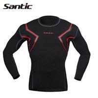 Wholesale Santic compression shirt sleeve men sport gym running t shirt fitness Base Layer tights men camisetas S XL
