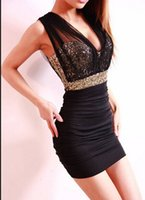 Cheap Free Shipping 2014 Sexy Lace Dress Short Tight Mini Luxury Club Satin Women Clothes sequined Party Evening black dresses