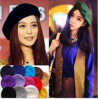 Wholesale Wool Warm Women Felt French Beret Beanie Women Hat Cap Tam Ladies Hats Girls Berets Mix Colors M1786