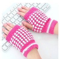 Fingerless Gloves ladies gloves - Warm Pineapple Stripe Gloves Women Lady Fingerless Gloves Half Finger Touch Typing Magic Gloves M1704
