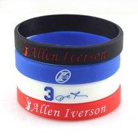 Wholesale Hologram Bracelet Allen Iverson Sports Basketball Wristband silicone multicolor gym fitness power bands energy bracelets