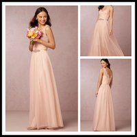 Wholesale Blush Pink Bridesmaid Dresses Long From BHLDN Sheer V Neck Tulle Floor Length Events Junior Evening Gowns Under Vestidos de Dama