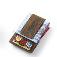 Wholesale Men Genuine Leather Wallet Business Casual Credit Card ID Holder with Strong Magnet Money Clip