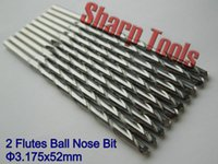 Cheap Long! 10pc 1 8'' 52mm Cut Length 2 Flutes Carbide Ball Nose End Mill, Tungsten Steel Cutters, CNC Wood Carving Tools Bits for 3D