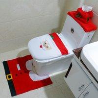 Wholesale 4 Piece Set Hot New Best Happy Santa Toilet Seat Cover Rug Bathroom Set Christmas Decorations MYF275