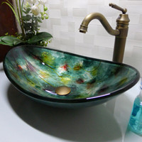 bathroom basin countertop - Bathroom tempered glass sink handcraft counter top boat shaped basin wash basins cloakroom shampoo vessel sink HX017