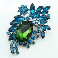 Wholesale MN Designer Big navy Blue Acrylic Small Resin Rhinestone Brooch Women Fashion Jewelry Ae021