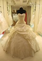 Cheap Wholesale - 2015 HOT Real Dress Elegant Ball Gown Sweetheart Cathedral Train Ruffles Crystal Bridal Gown Wedding Dresses
