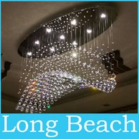 Wholesale oval curtain wave modern chandelier crystal lamp living room light size L1000 W500 H650mm
