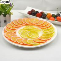 artificial lemon - 2015 Scrapbook Artificial Flowers Fake Lemon orange Slice Garnish Artificial Fruit Faux Food Decor