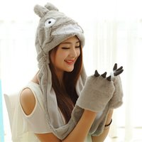 Wholesale My Neighbor Totoro Winter Plush Hat Cap with Gloves Ghibli Totoro Cosplay Costumes Plush Hat with Claw Pockets