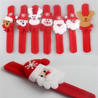 Wholesale 2015 Christmas party gift Santa Claus Snowman Bear Deer slap pat circle glow bracelets hair bands Christmas gift toy Free DHL