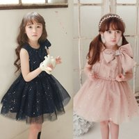 Cheap 2015 Summer Kids Girl Dress Clothes Childrens New Korean Style Children Girls Sleeveless Gauze Dress Bow Sequins Princess Dress,5 Pcs Lot B