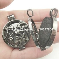 Wholesale 2PC Alloy Black Flower Tree Leaf Branch mm Picture Photo Locket Fit Keepsakes Floating Plates Aromatherapy Diffuser