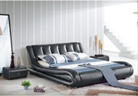 Wholesale GENUINE LEATHER BED NOBLE STYLE GREY BLUE SIMPLE FASION DOUBLE PERSON GOOD QUALITY CM A27D