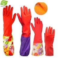 Wholesale Warm Gloves Lengthen Latex Kitchen Gloves Waterproof Dishwashing Gloves Skid Resistance Plush Inside Laundry Gloves dandys
