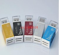 Wholesale 500pcs All in one card reader Multi in card reader For SD SDHC MMC RS MMC TF MicroSD MS MS PRO MS DUO M2