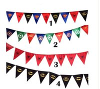 flags and banners - New Spiderman Superman Batman Pennant Flag Banner Triangle Flag Banner Fabric Custom Flags And Banners Party Decoration