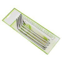 Wholesale Stainless Steel Straw Metal Drinking Straw Beer Fruit Juice Straws Bent Curved Embossed with Cleaning Brush Set Retail Packing Kit
